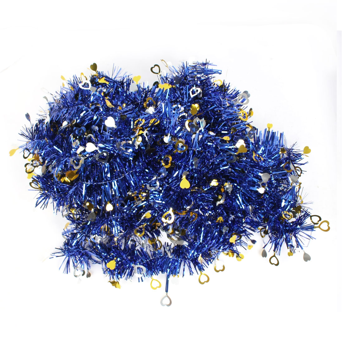 Sequins Decor Blue Gold Tone Glittery Fluffy Tinsel Garland for Stage Room Ornament 10 Pcs