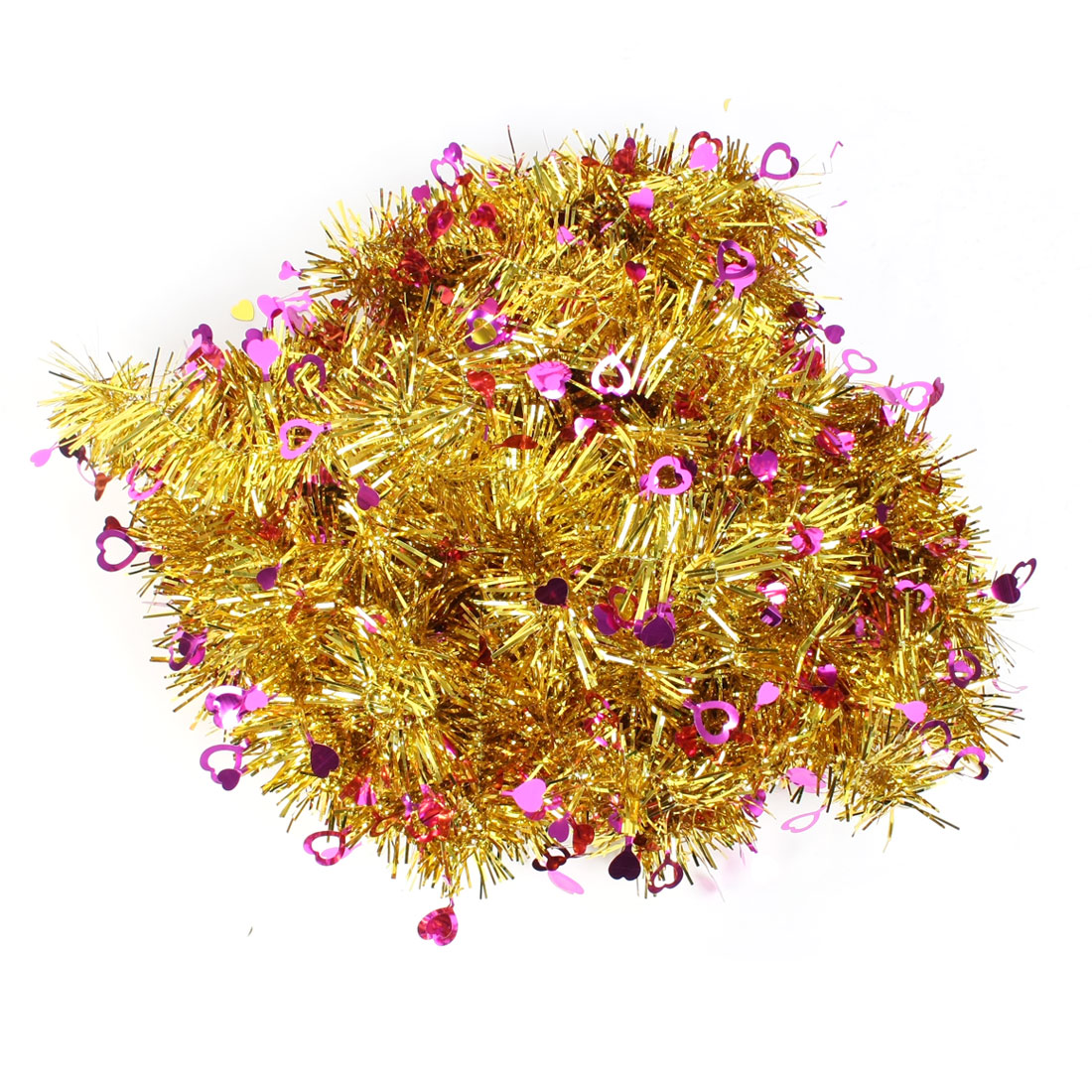 Tinsel Garland for Holiday Festival Stage Ornament 10 Pcs Fushcia Gold Tone