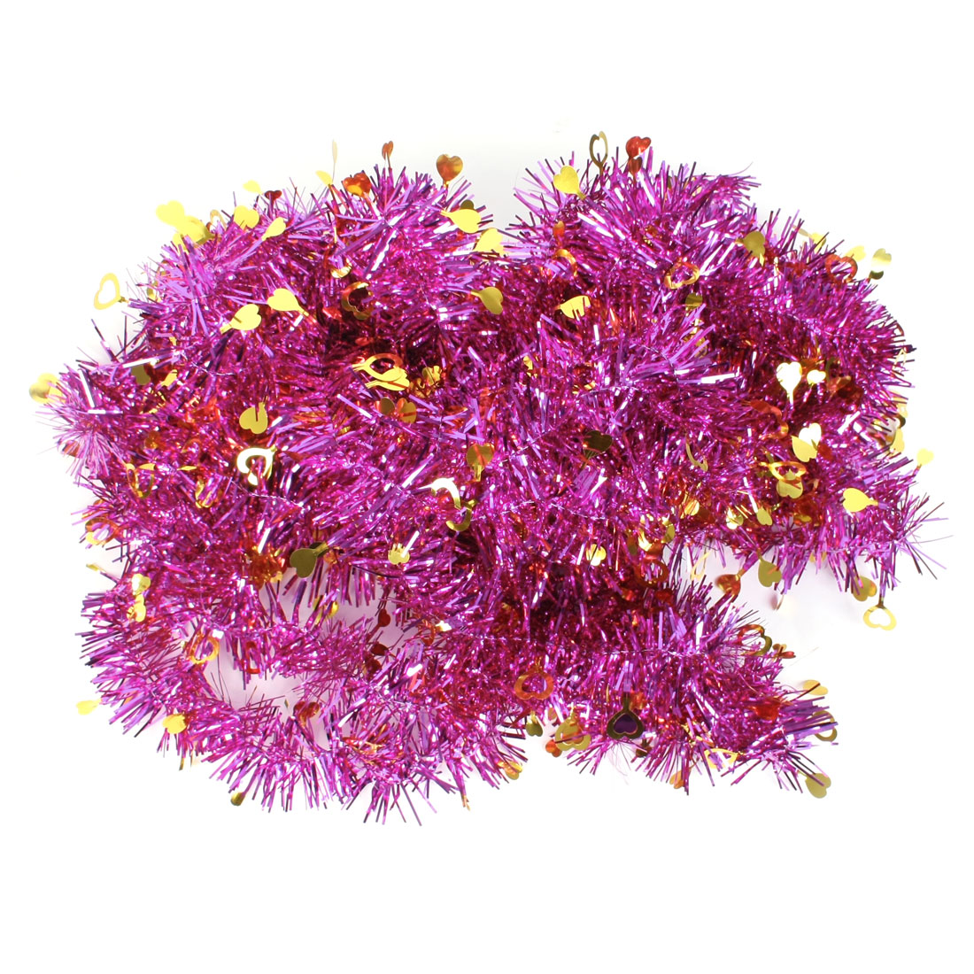 Heart Decor Fushcia Gold Tone Sparkly Christmas Party Wedding Hanging Tinsel Garland 10 Pcs