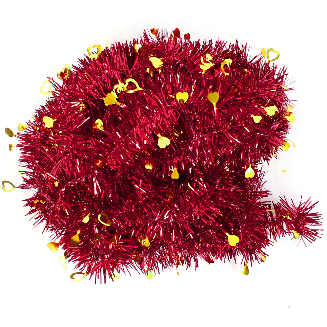 Red Gold Tone Glittery Fluffy Tinsel Garland for Stage Room Ornament 10 Pcs
