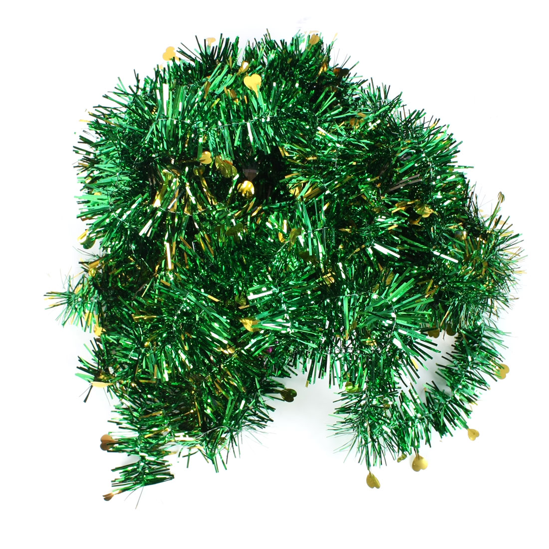 Green Gold Tone Heart Decor Sparkly Christmas Party Wedding Hanging Tinsel Garland