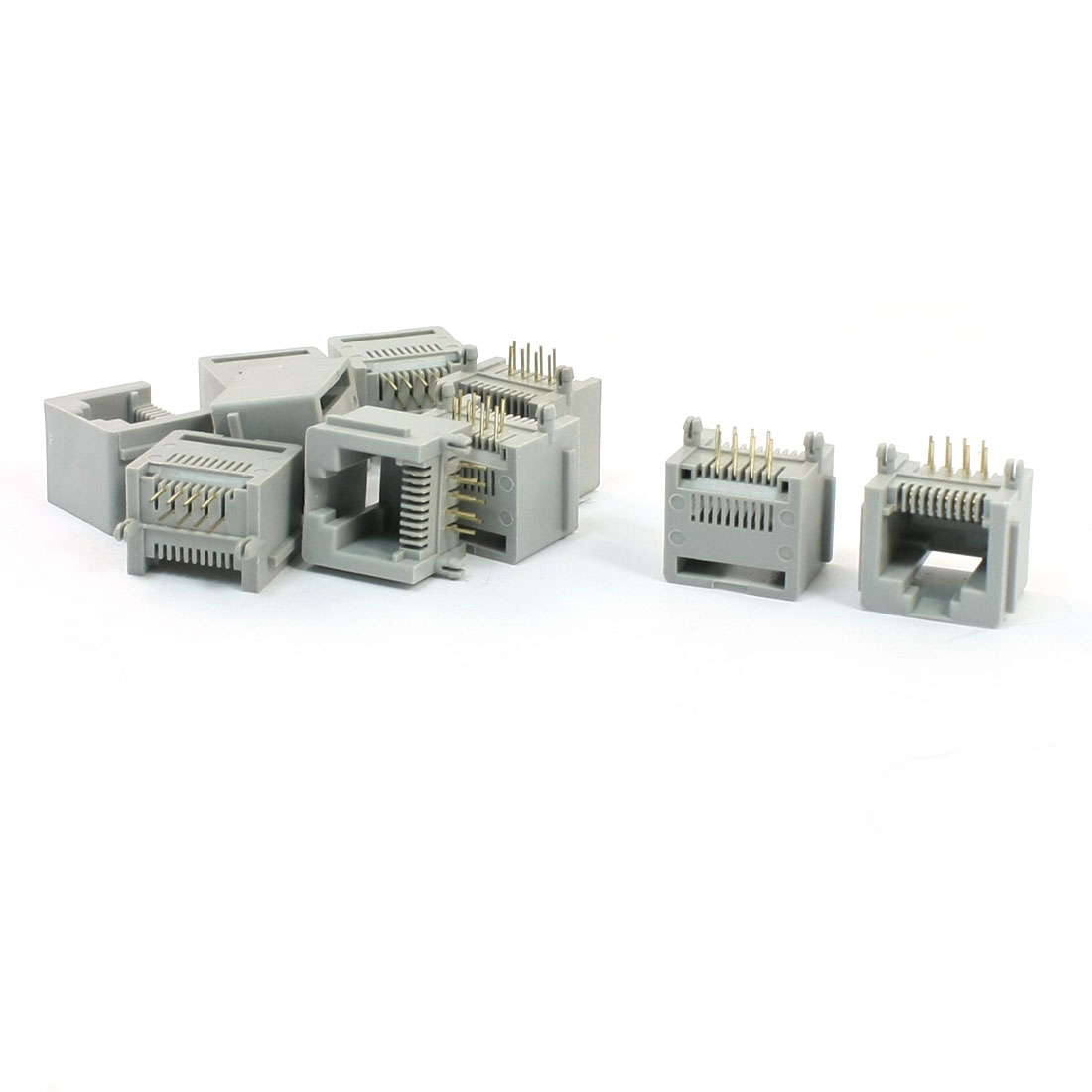 10 Pcs Network RJ45 Modular Jack 8P8C 8 Pins PCB PC Board Connector Gray
