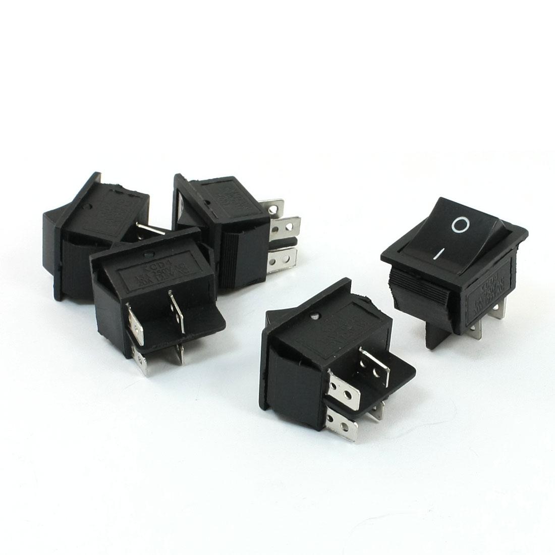 15A 250VAC 20A 125VAC 4 Pin DPST I/O ON/OFF Rocker Switch 5 Pcs
