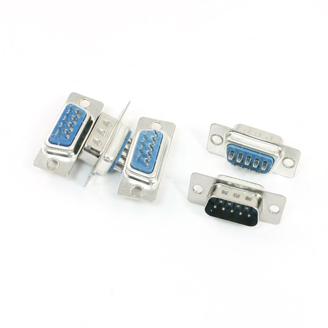 Soldering 2 Row DB-9 Male 9Pin VGA D-Sub Connector Adapter 5Pcs