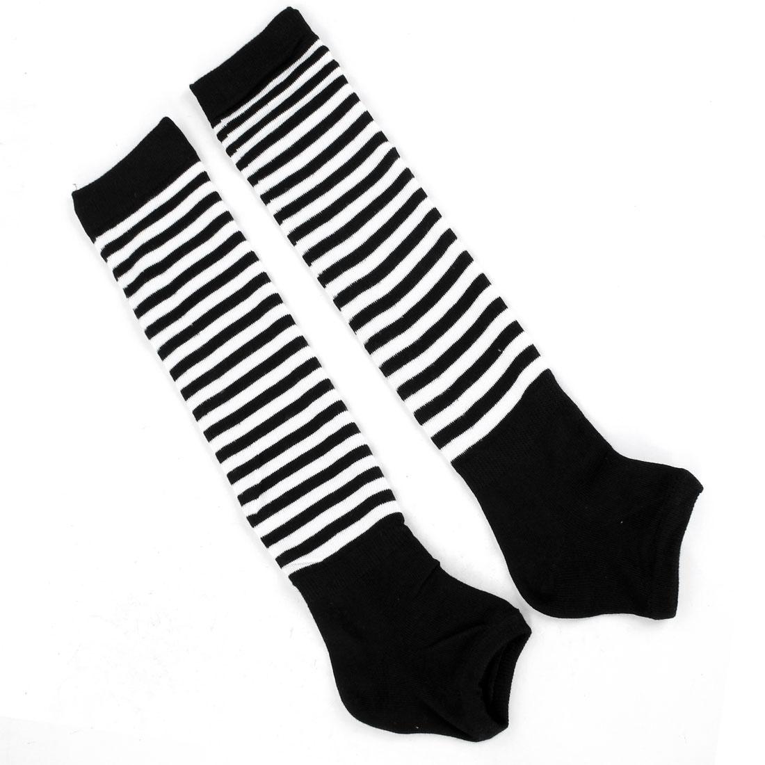 Lady Black White Stripes Pattern Toeless Knee High Leg Warmer Pair