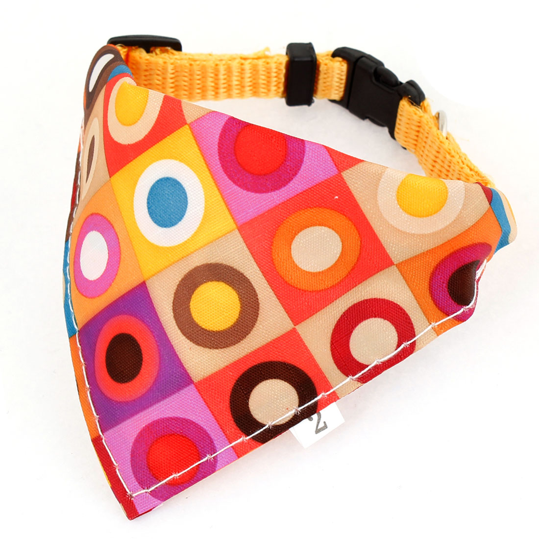 Side Release Buckle Colorful Circle Pattern Pet Bandana Collar