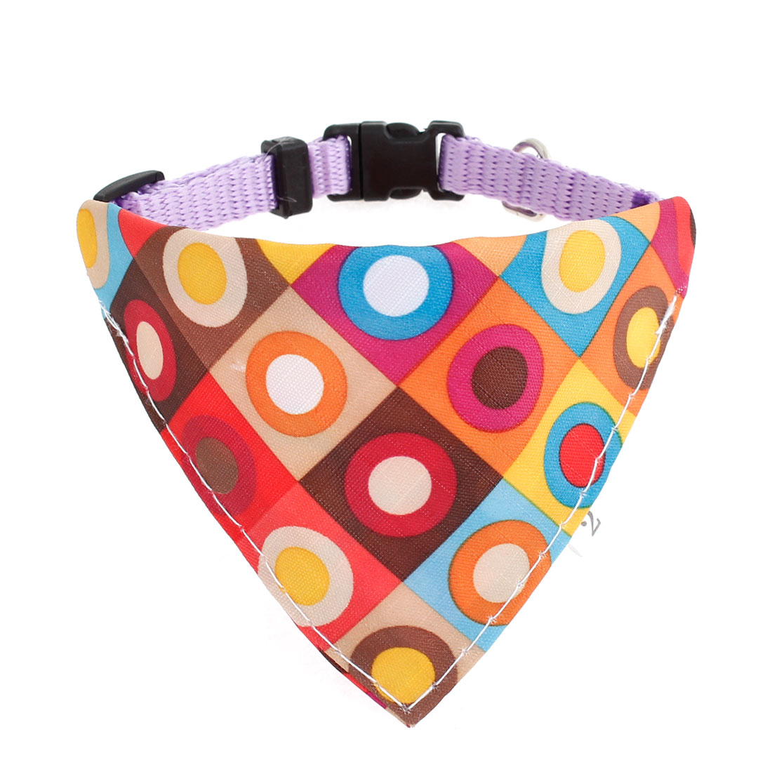 Side Release Buckle Colorful Circle Pattern Pet Bandana Collar Purple