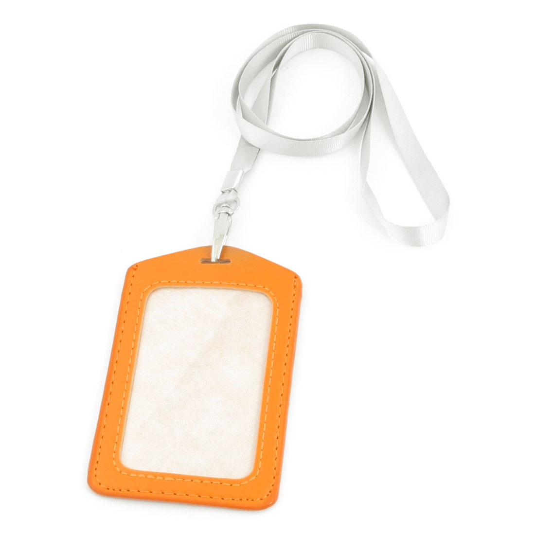 Office Work Plastic Vertical Faux Leather ID Card Holder Orange Light Gray