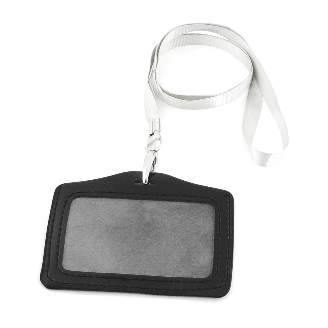 Horizontal Faux Leather Detachable ID Card Holder Black Light Gray
