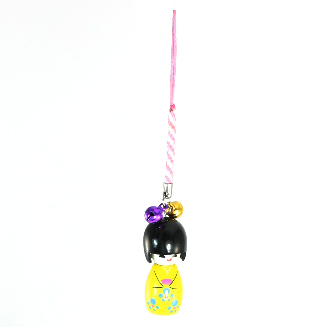 Wooden Japanese Kokeshi Doll 2 Bells Pendant Phone Camera Strap Yellow