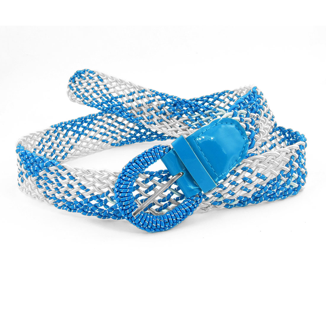 Blue White Rectangle Shaped Metal Buckle Woven Waist Belt for Lady