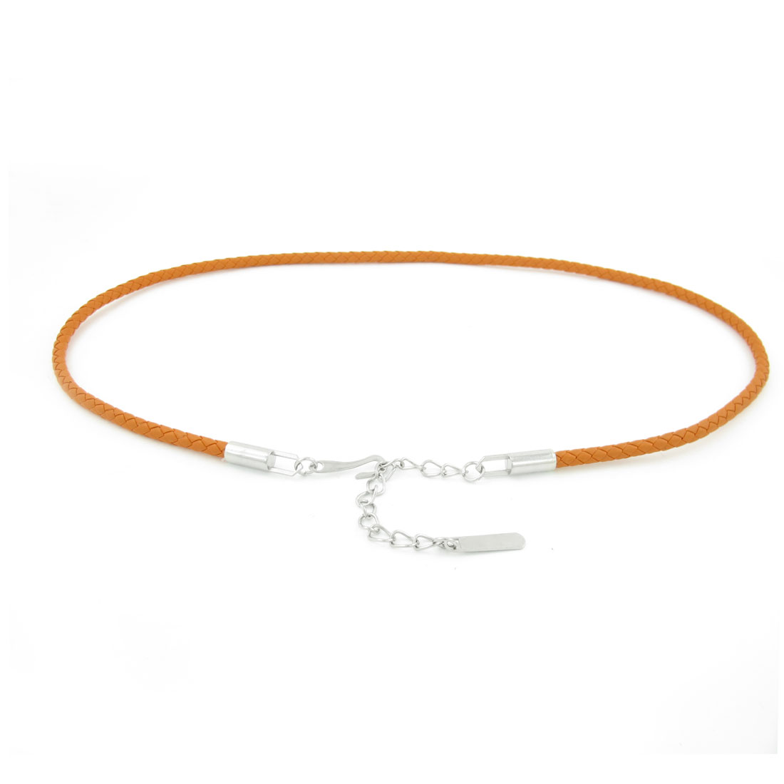 Chain End Orange Faux Leather Braided Band Waist Belt for Lady