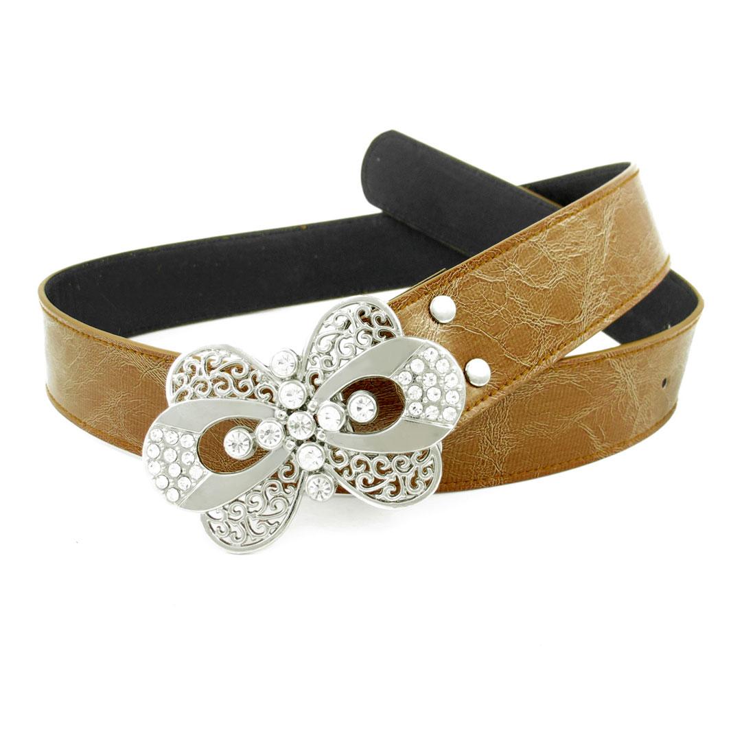 Metal Butterfly Interlocking Buckle Waist Cinch Belt Brown for Ladies
