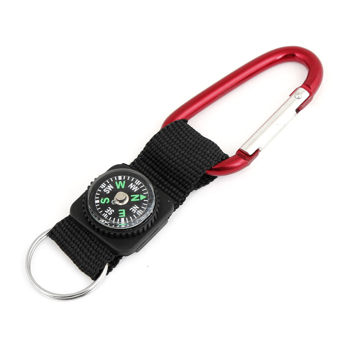 Black Red Compass Carabiner Hook Key Chain Keyring for Camping Hiking