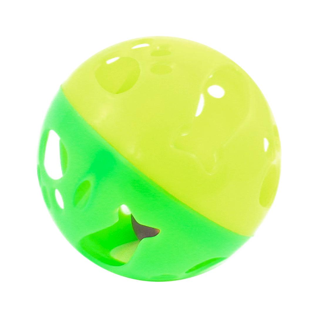 Green Yellow Pink Hard Plastic Jingling Bell Doggie Puppy Chew Ball 9cm Dia