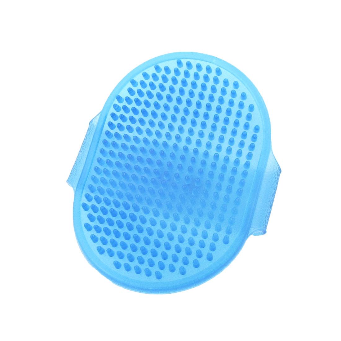 Pet Dog Massage Grooming Bath Soft Glove Brush Comb Rake Clear Blue