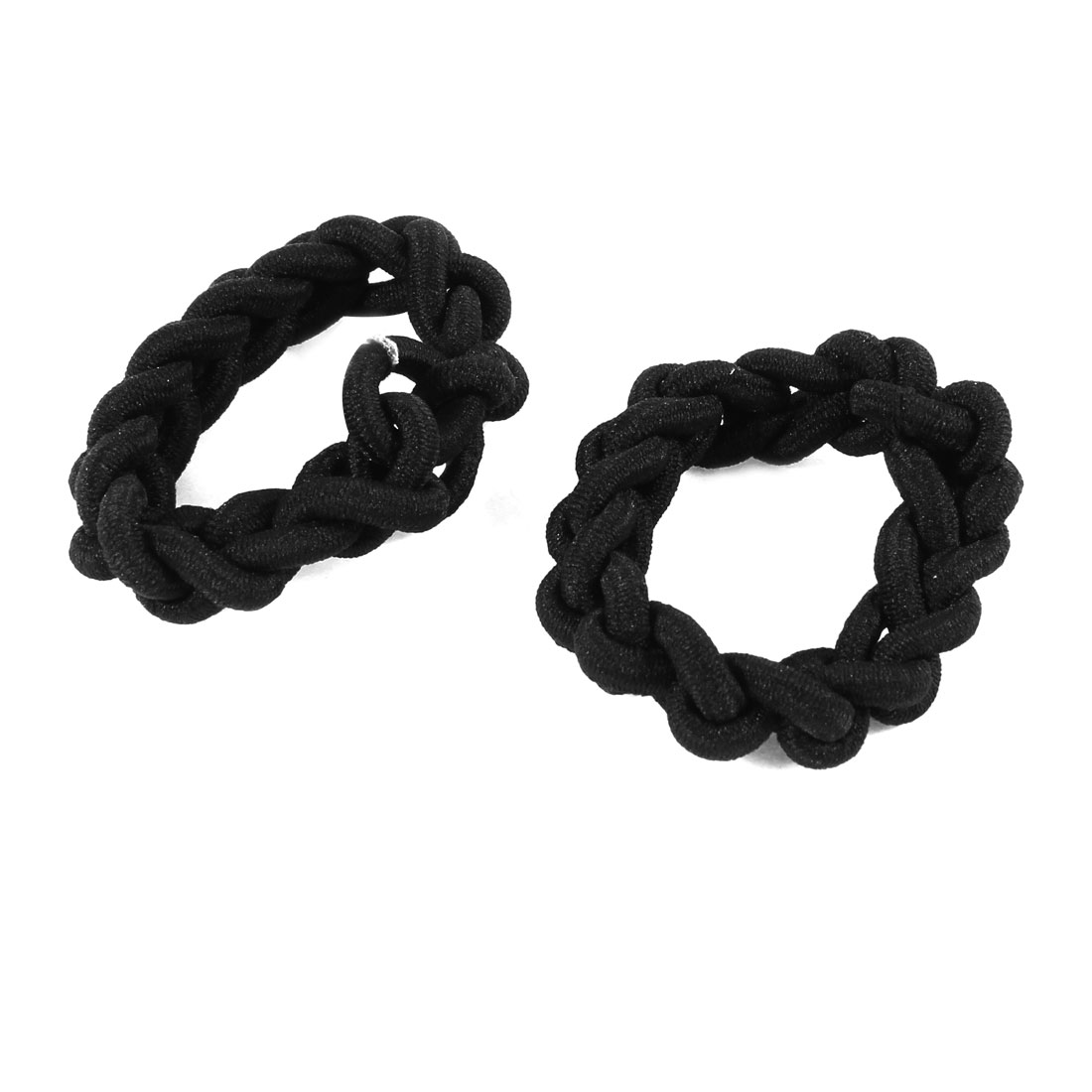 2 Pcs Black Braided Elastic Ponytail Holder Hair Bands Ties for Girl