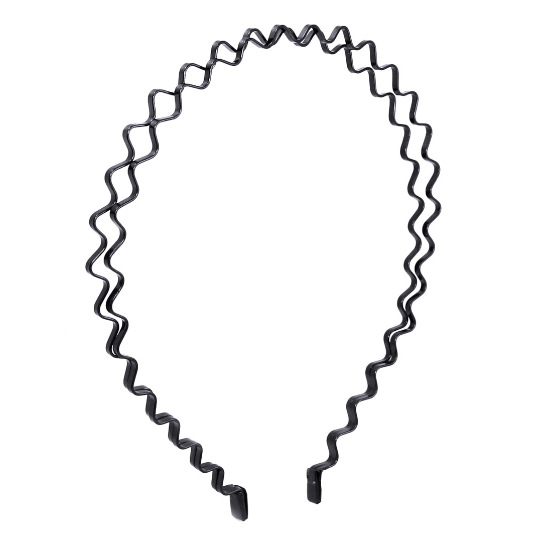 Black Double Row Wave Shaped Metal Frame Hair Hoop Band for Lady