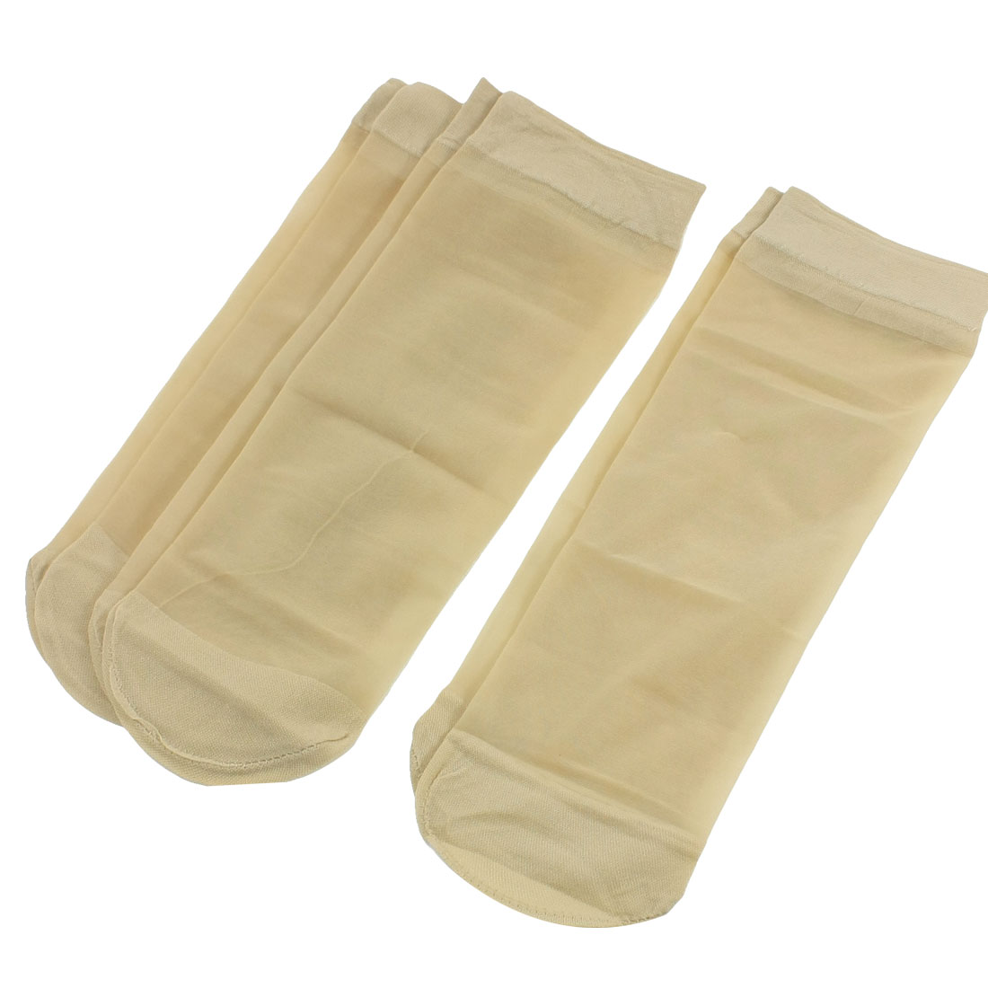 3 Pairs khaki Color Elastic Ankle High Summer Sheer Socks for Lady