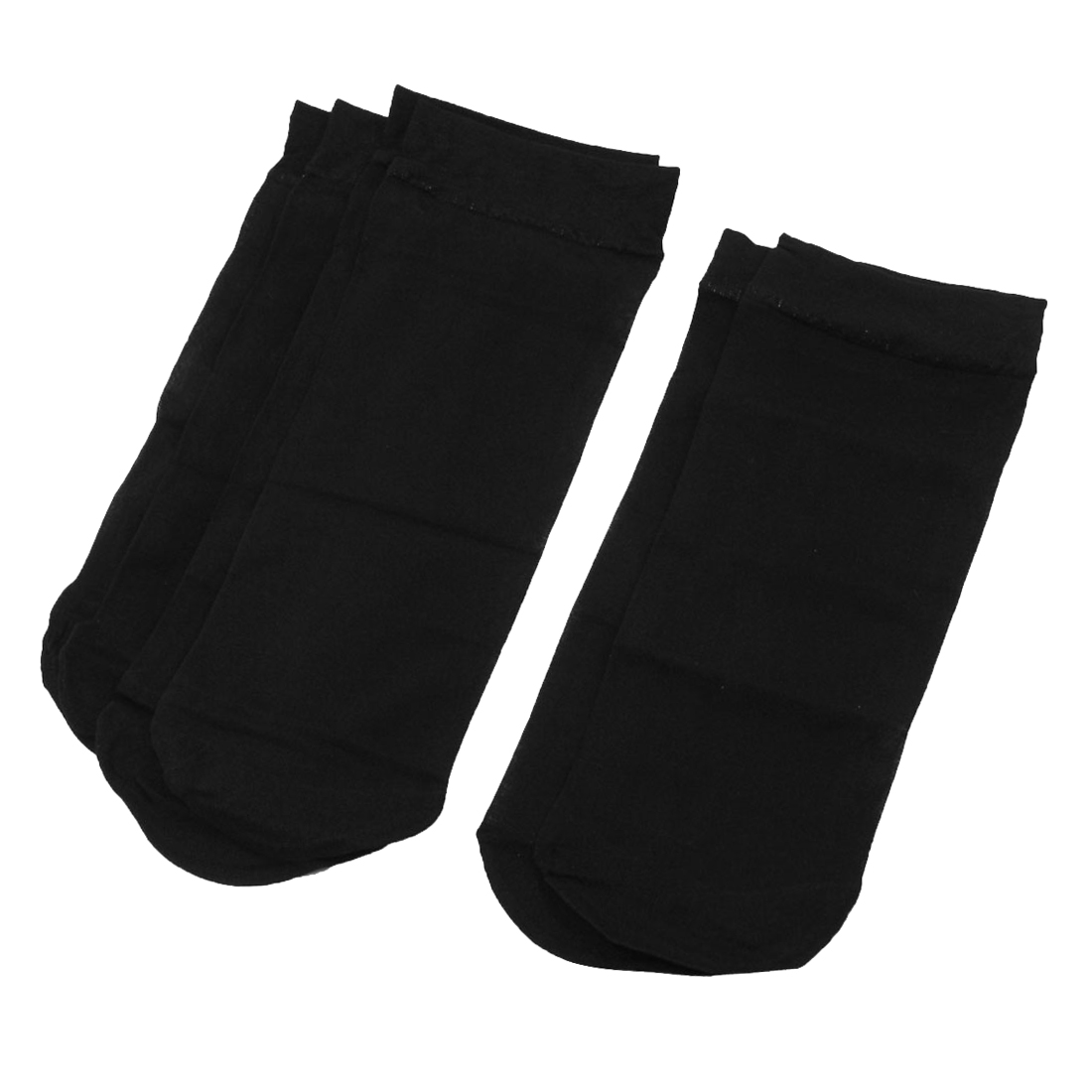 3 Pairs Black Summer Elastic Cuff Ankle High Sheer Socks for Lady