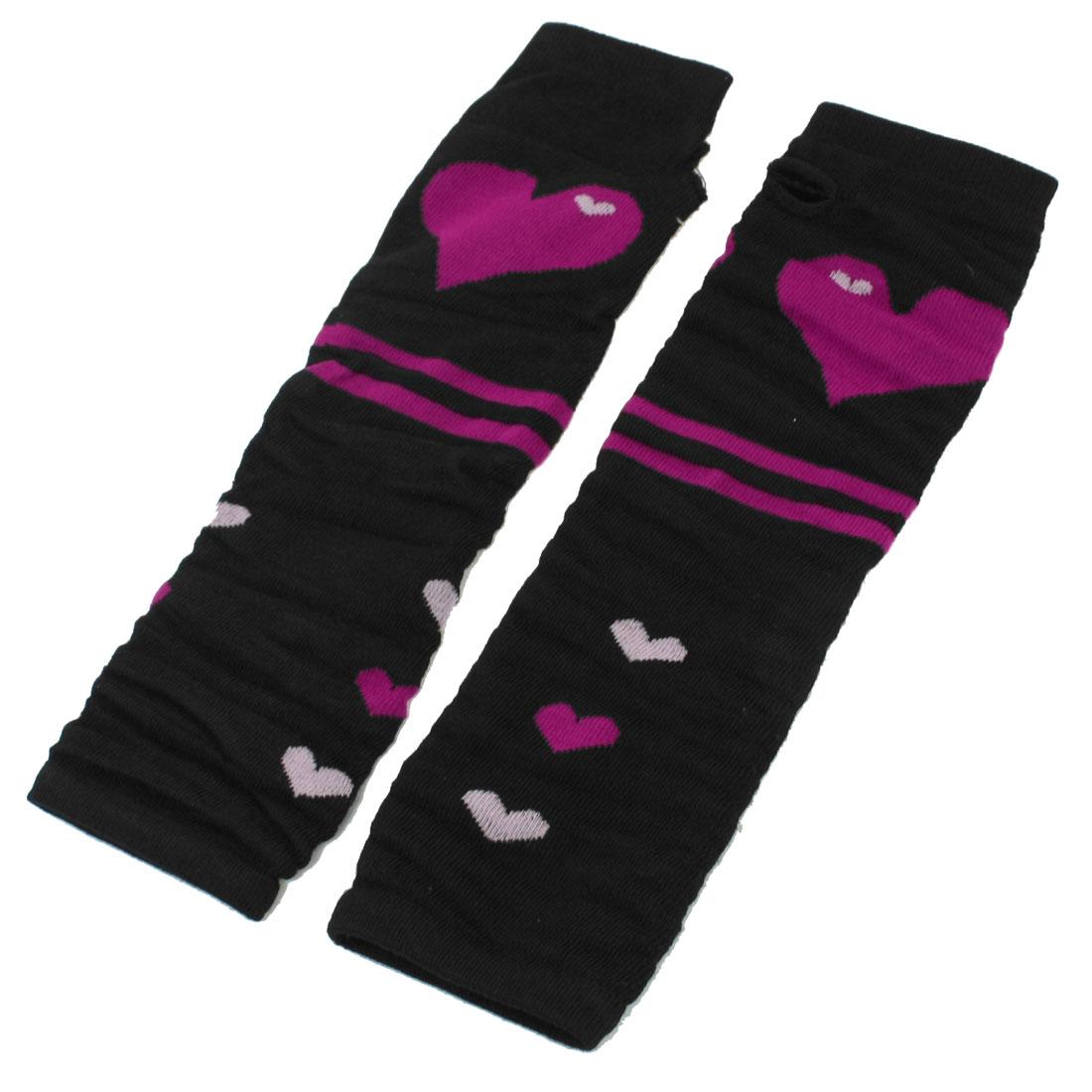 Pair Fuchsia Black Heart Stripe Print Fingerless Long Gloves for Woman