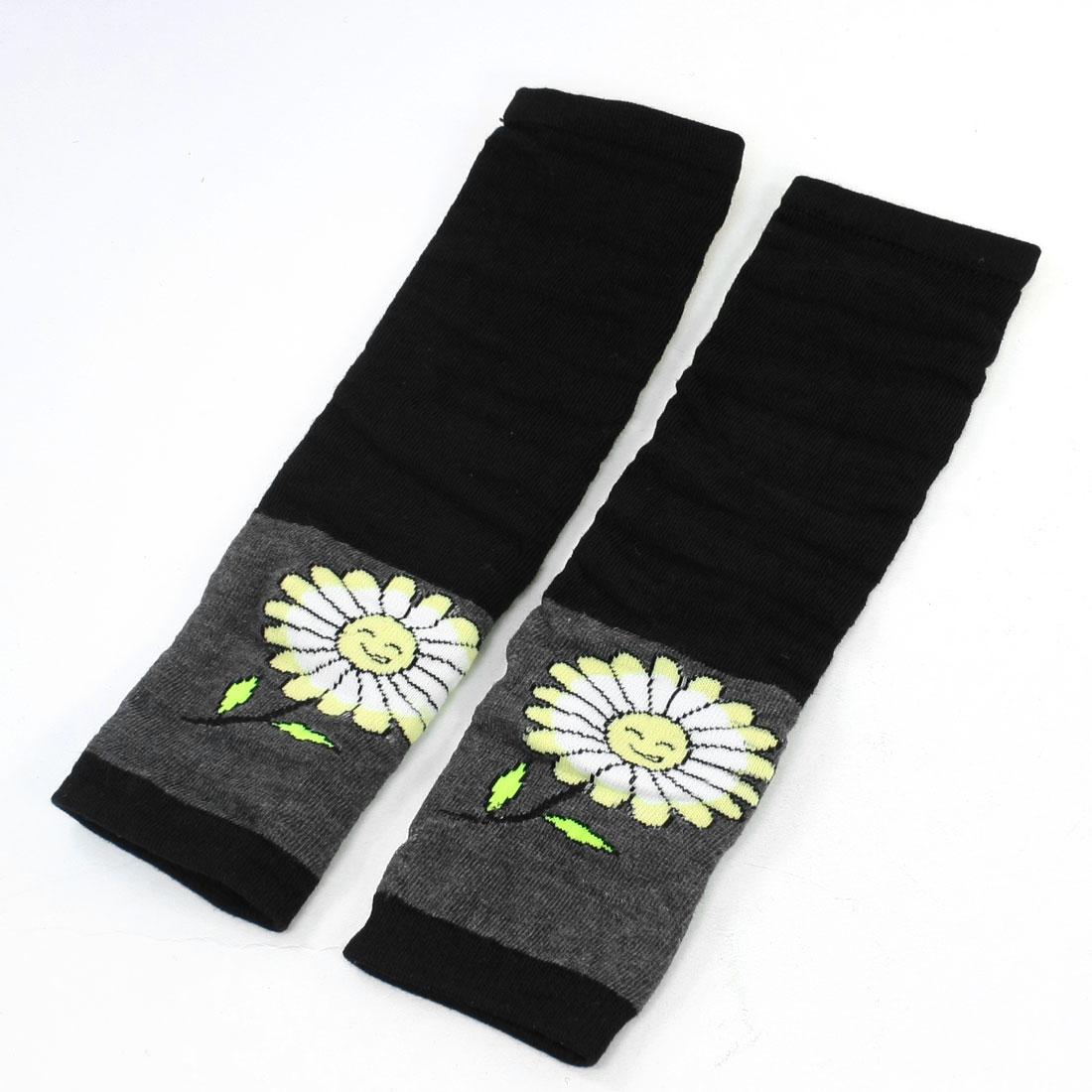 Pair Daisy Pattern Black Gray Fingerless Long Gloves for Woman