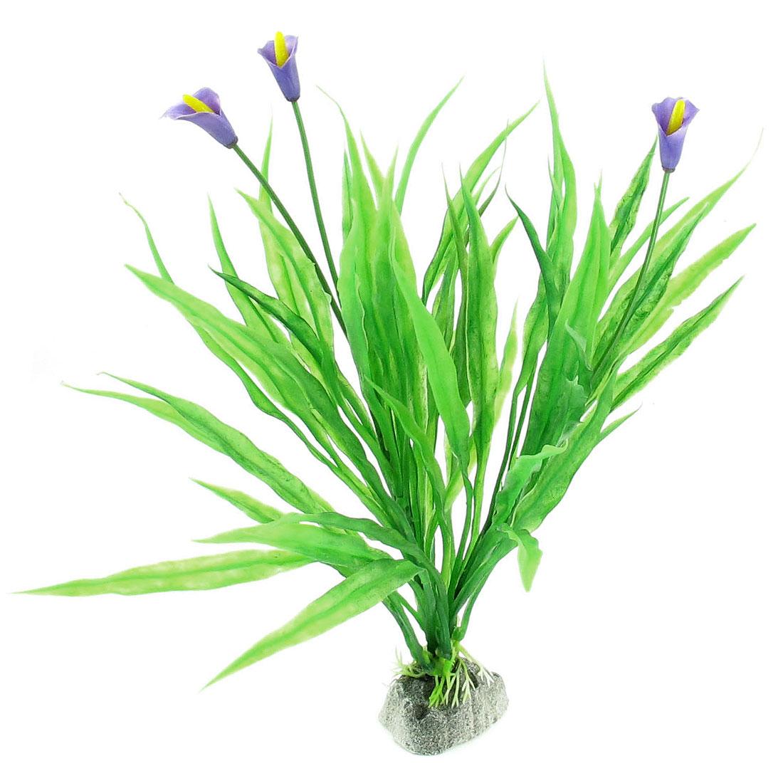 Simulation Green Purple Flower Plastic Plant Fish Tank Aquarium Ornament