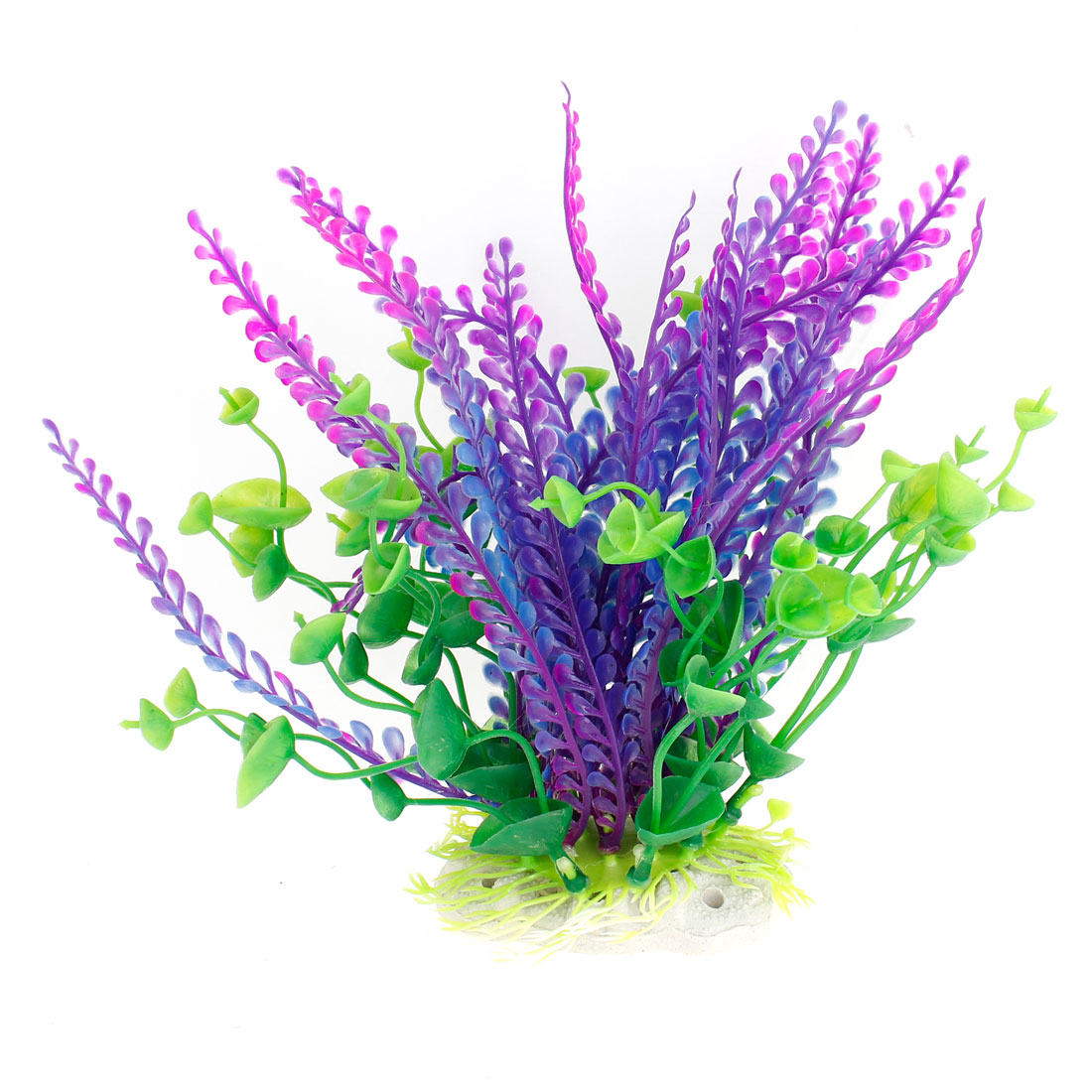 "7"" Height Plastic Green Purple Manmade Plant Fish Tank Aquarium Decoration"