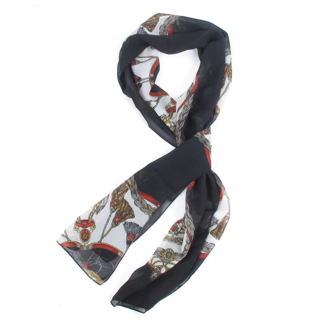 Ladies Tassels Printed Black White Soft Chiffon Long Wrap Scarf Shawl