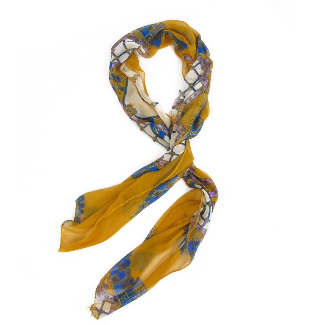 Ladies Rhombus Pattern Yellow Blue Soft Chiffon Long Neck Scarf Stole Shawl