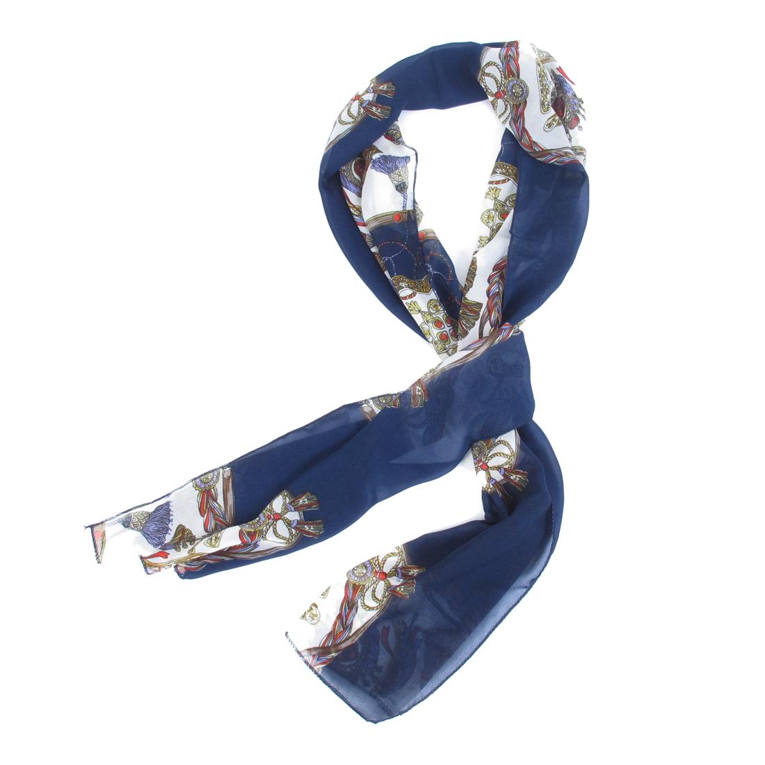 Ladies Tassels Printed Dark Blue White Soft Chiffon Long Scarf Stole Shawl