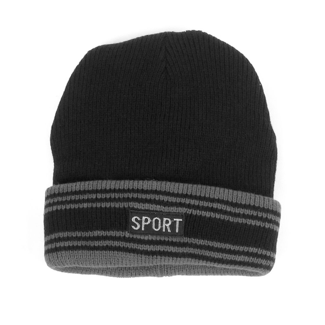 Women Men Black Gray Elastic Acrylic Knit Skiing Skull Beanie Hat Cap