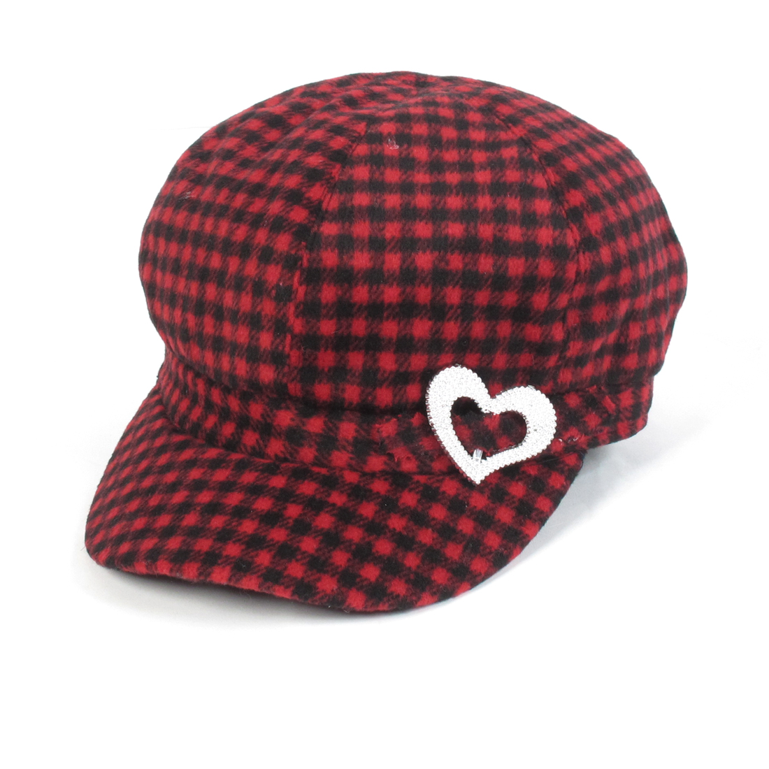 Ladies Black Red Check Pattern Heart Decorate Newsboy Fiddler Hat Cap