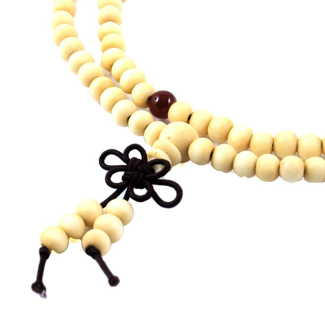 Unisex 2 Pcs Beige Plastic Round Beads Elastic Bracelet Necklace