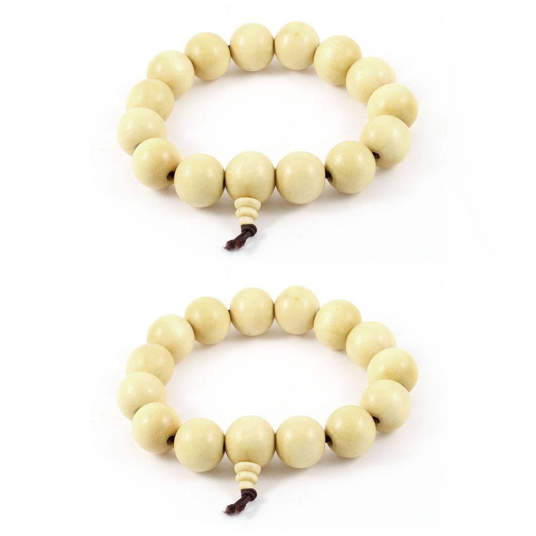 2 Pcs Beige Elastic Faux Beads Prayers Auspicious Bracelets Hand Chain