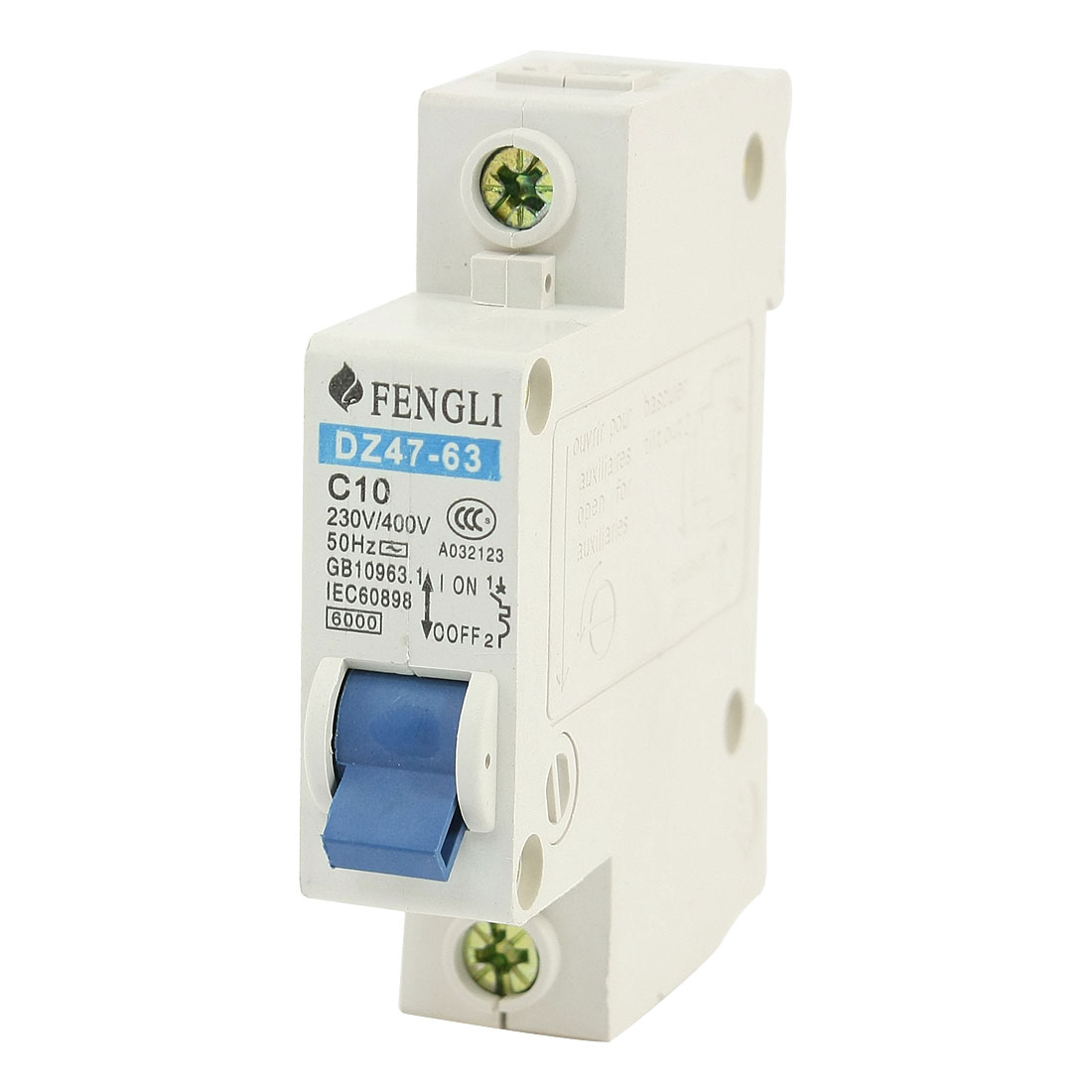 35mm DIN Rail Mount Single Pole Circuit Breaker 230V/400VAC 10A 6000A