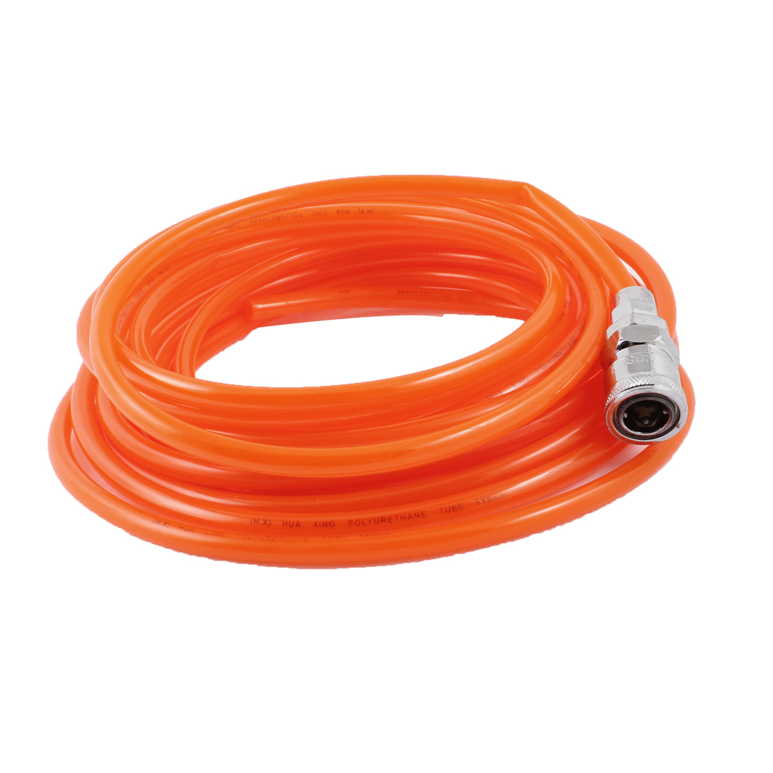 "19M Length 5/16"" x 1/5"" Quick Connect Polyurethane Tube Air PU Hose Orange Red"
