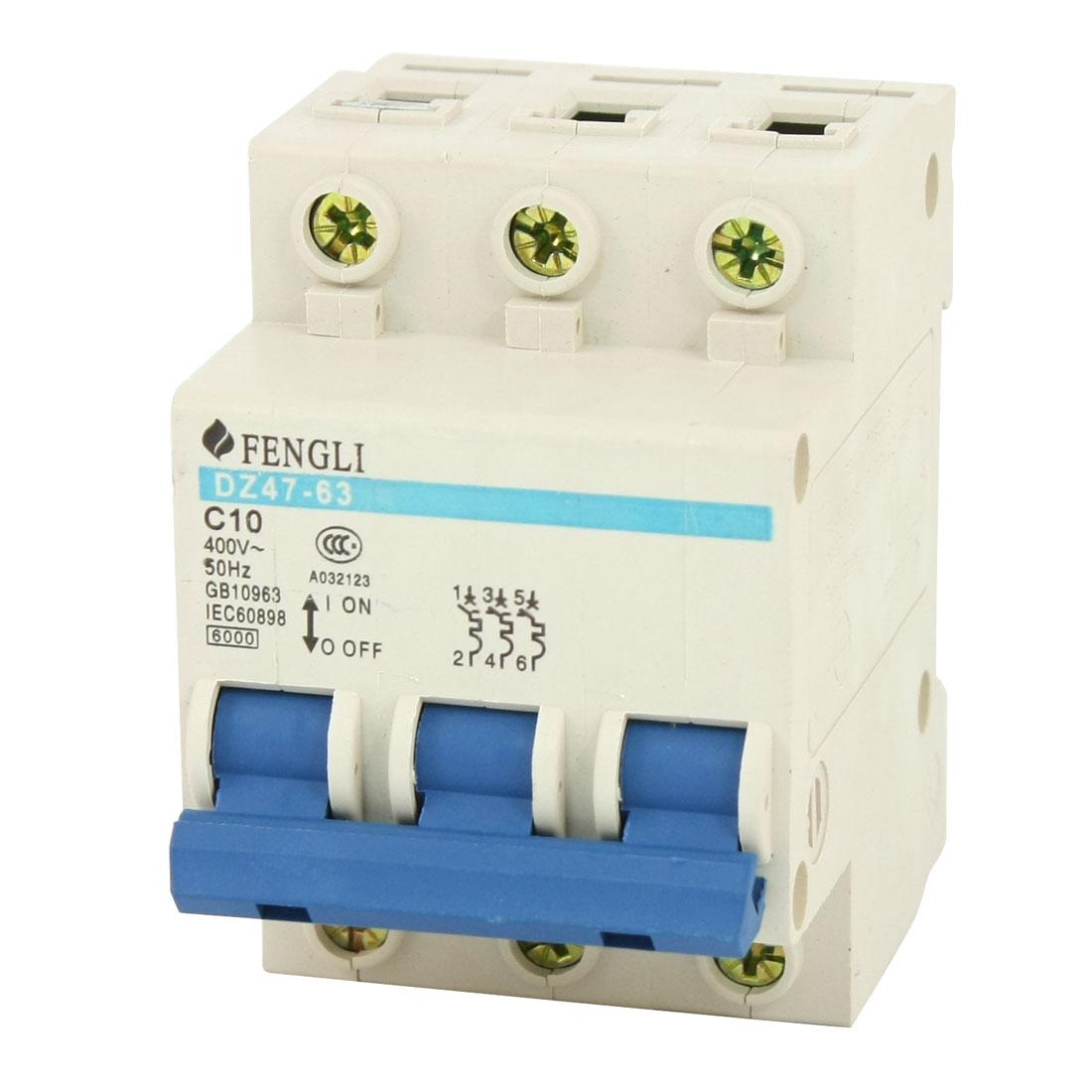 6000A 10A 400VAC 3 Pole DIN Rail Short Circuit Protector Breaker