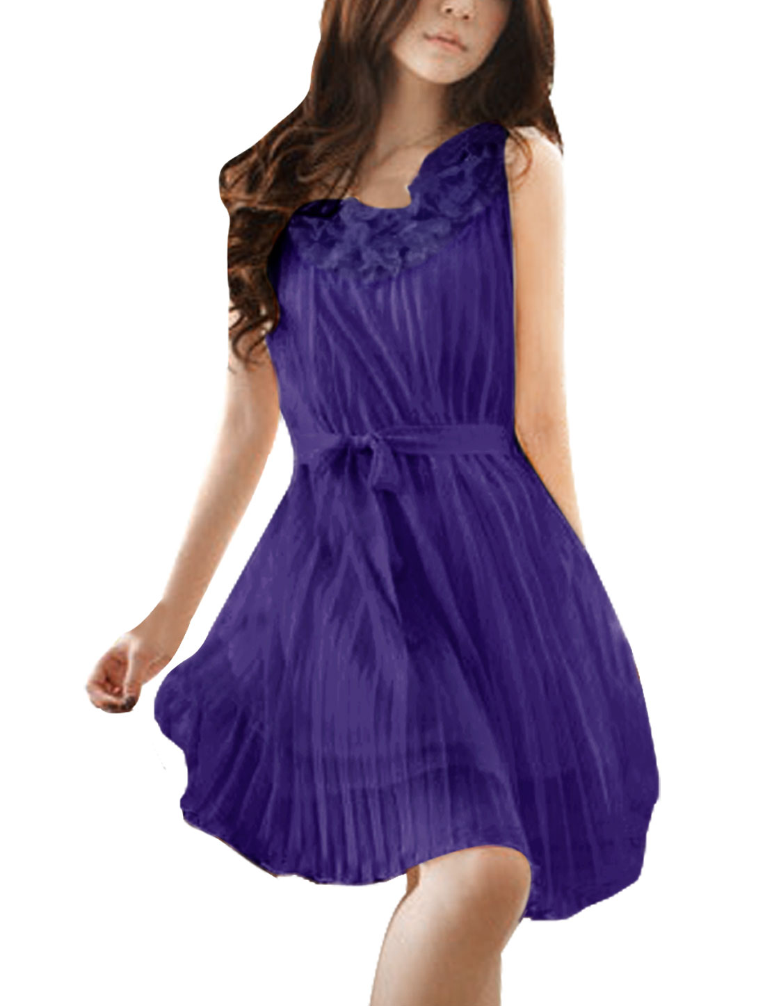 Woman Sweet Floral Trimed Round Neckline Pleated Purple Dress L