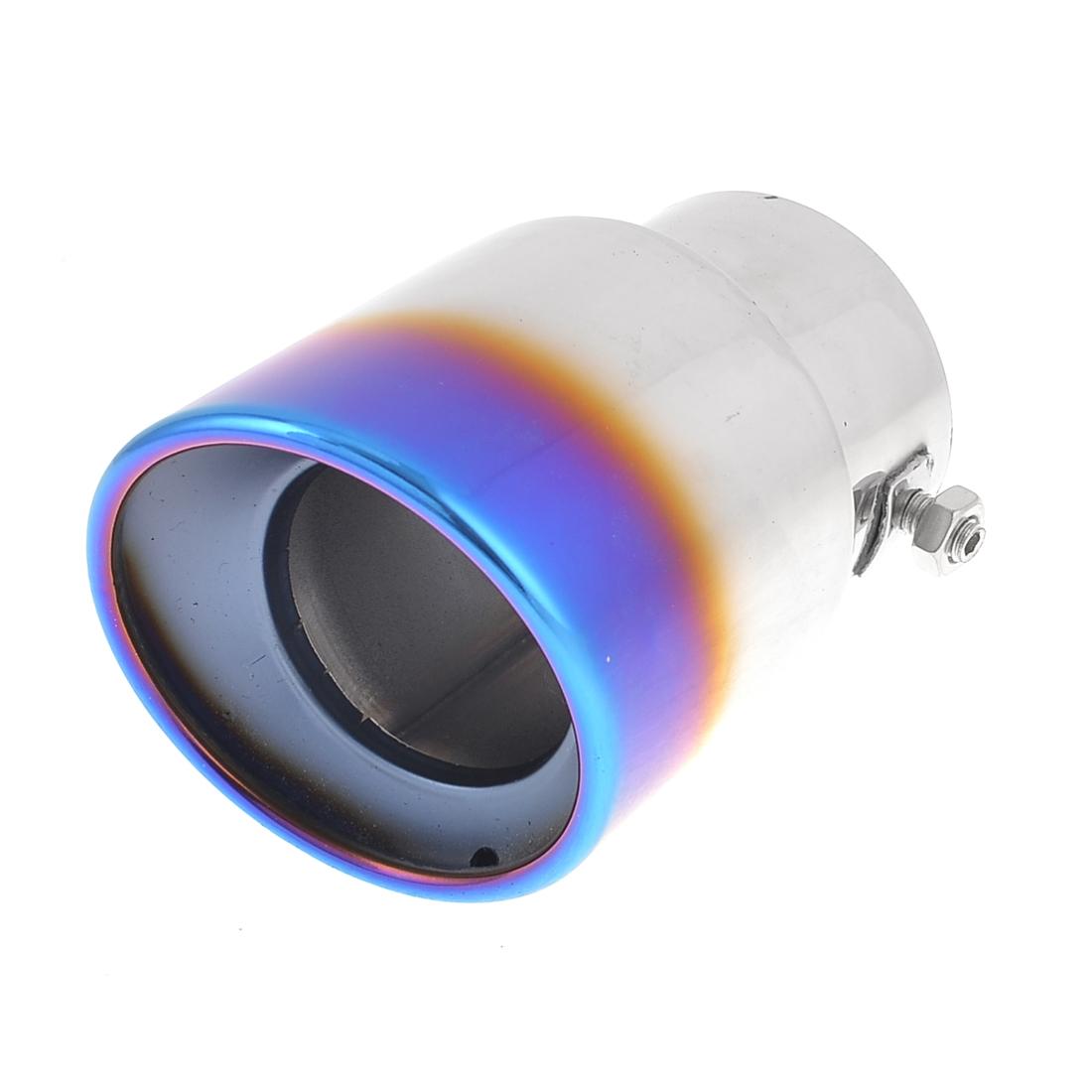 Silver Tone Blue 7cm Dia 13cm Long Inlet Exhaust Muffler Tip Pipe for MAVERICK