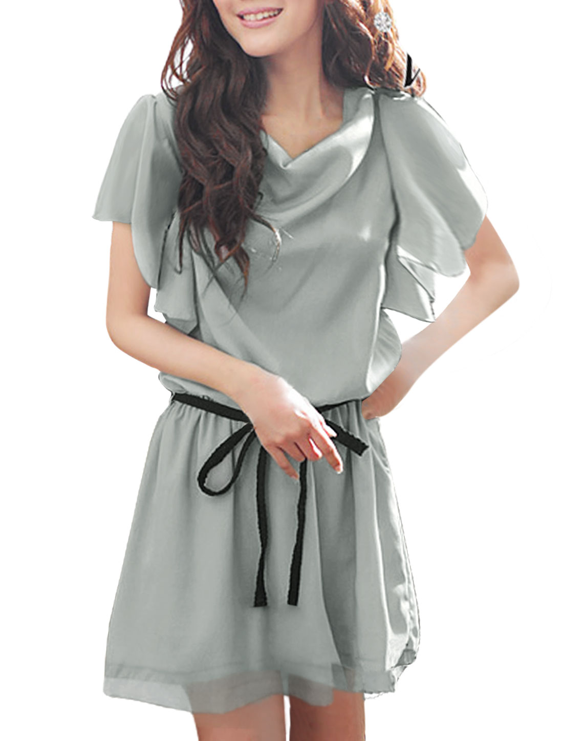 Woman Chic Cowl Neck Short Ruffled Sleeve Pure Gray Dress w Waist Strap M