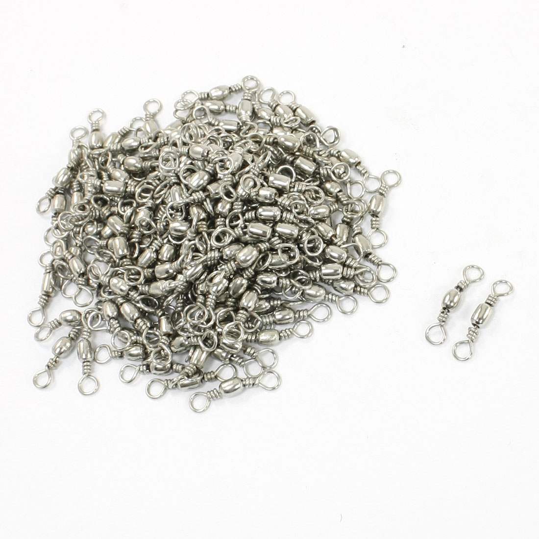 200 Pcs Silver Tone Metal Fishing Line to Hook Connectors 9#