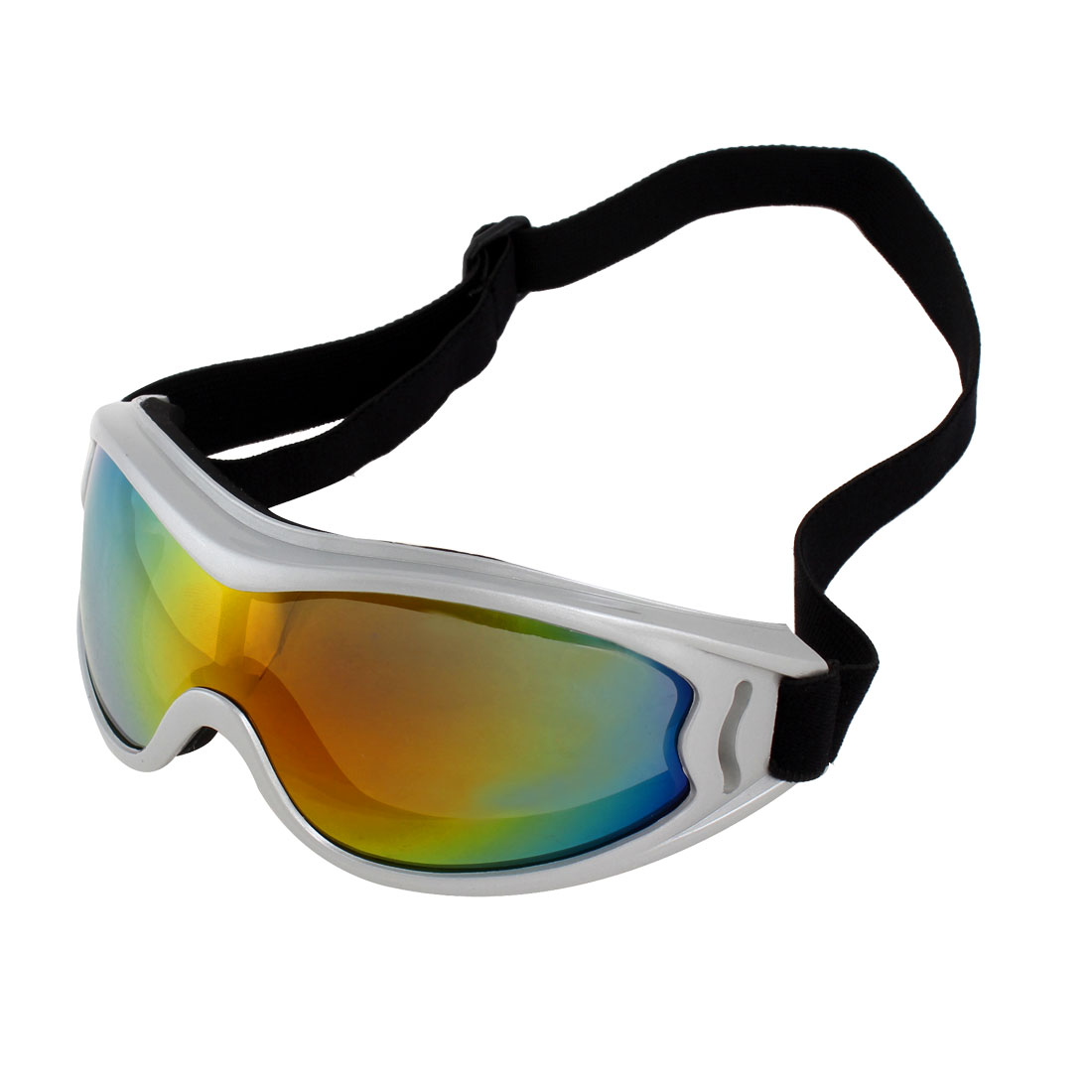 Silver Tone Full Rim Tinted Lens Motorcycle Ski Snowboard Sports Goggles Sunglasses