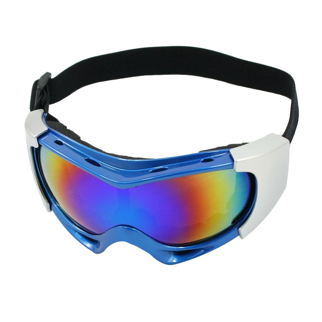 Woman Man Plastic Band Mirrored Lens Ski Goggles Glasses Silver Tone Blue