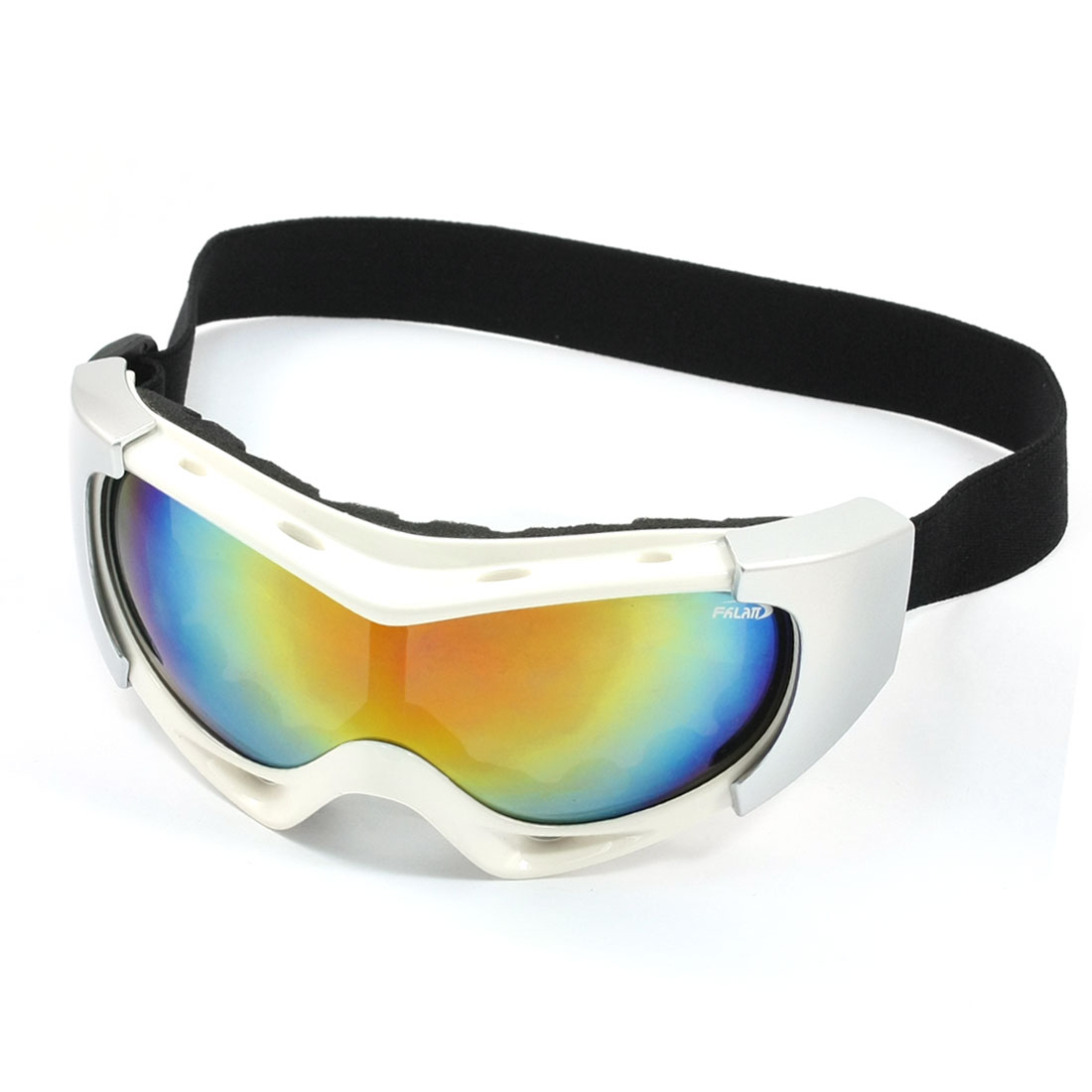 Mirrored Lens Full Frame Snow Ski Goggles Silver Tone White for Woman Man