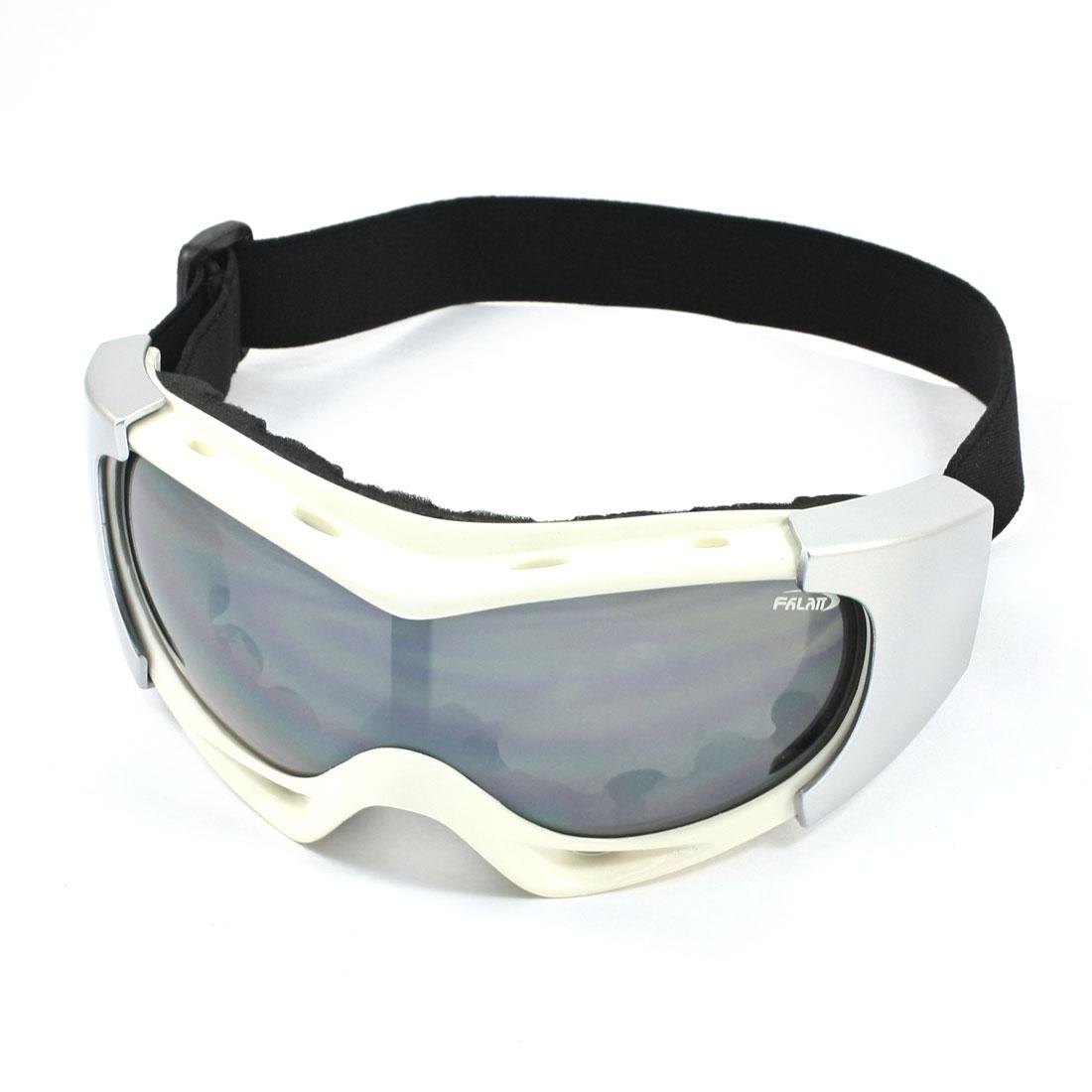 Unisex Black Lens Snowboard Sports Ski Glasses UV400 White