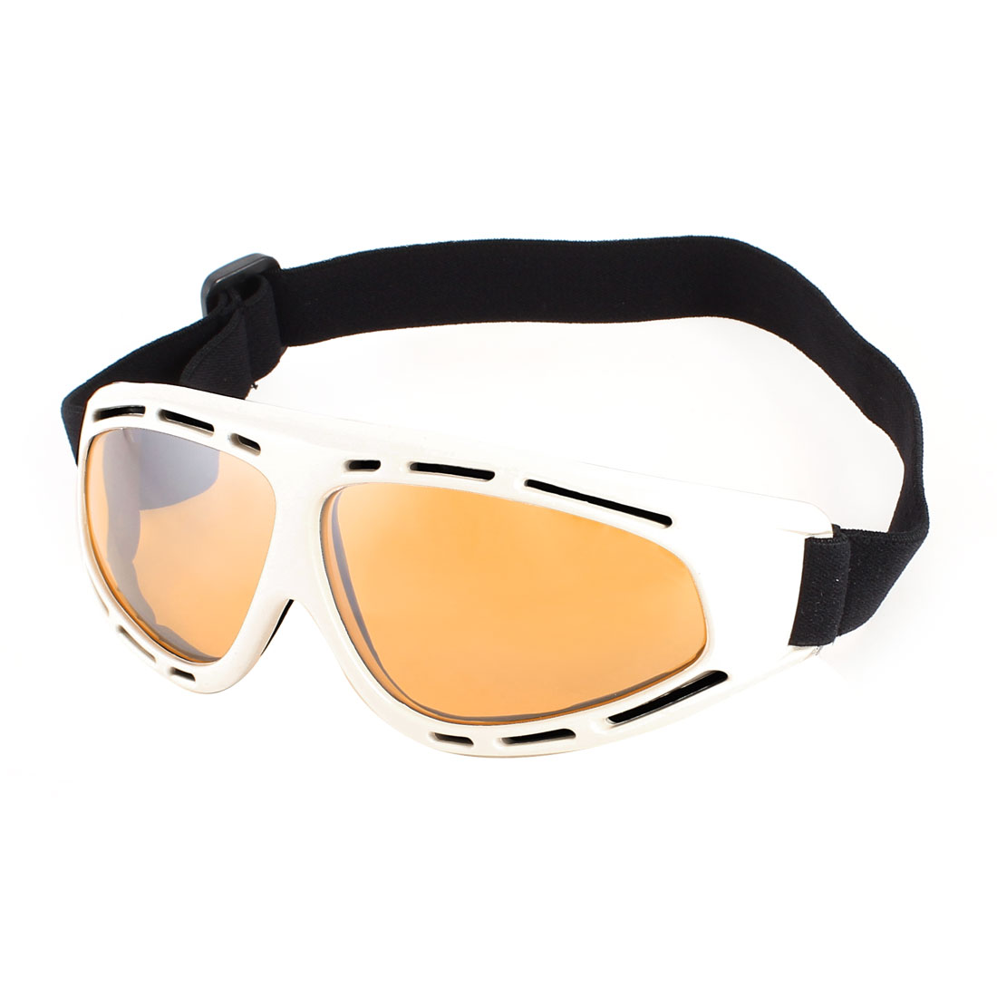Men White Frame Amber Color Lens Mountain Ski Sports Goggles Sunglasses