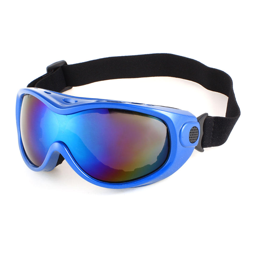 Woman Men Elastic Strap Full Frame Wide Angle Motorcycle Ski Goggles Dark Blue