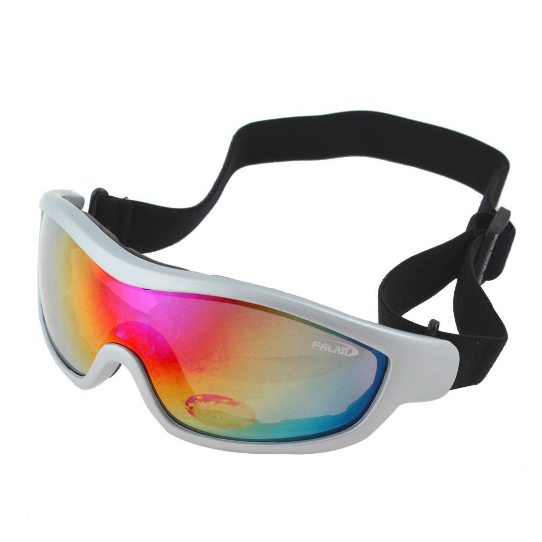 Silver Tone Full Rim Colorful Lens Ski Snowboard Sports Goggles Glasses UV400