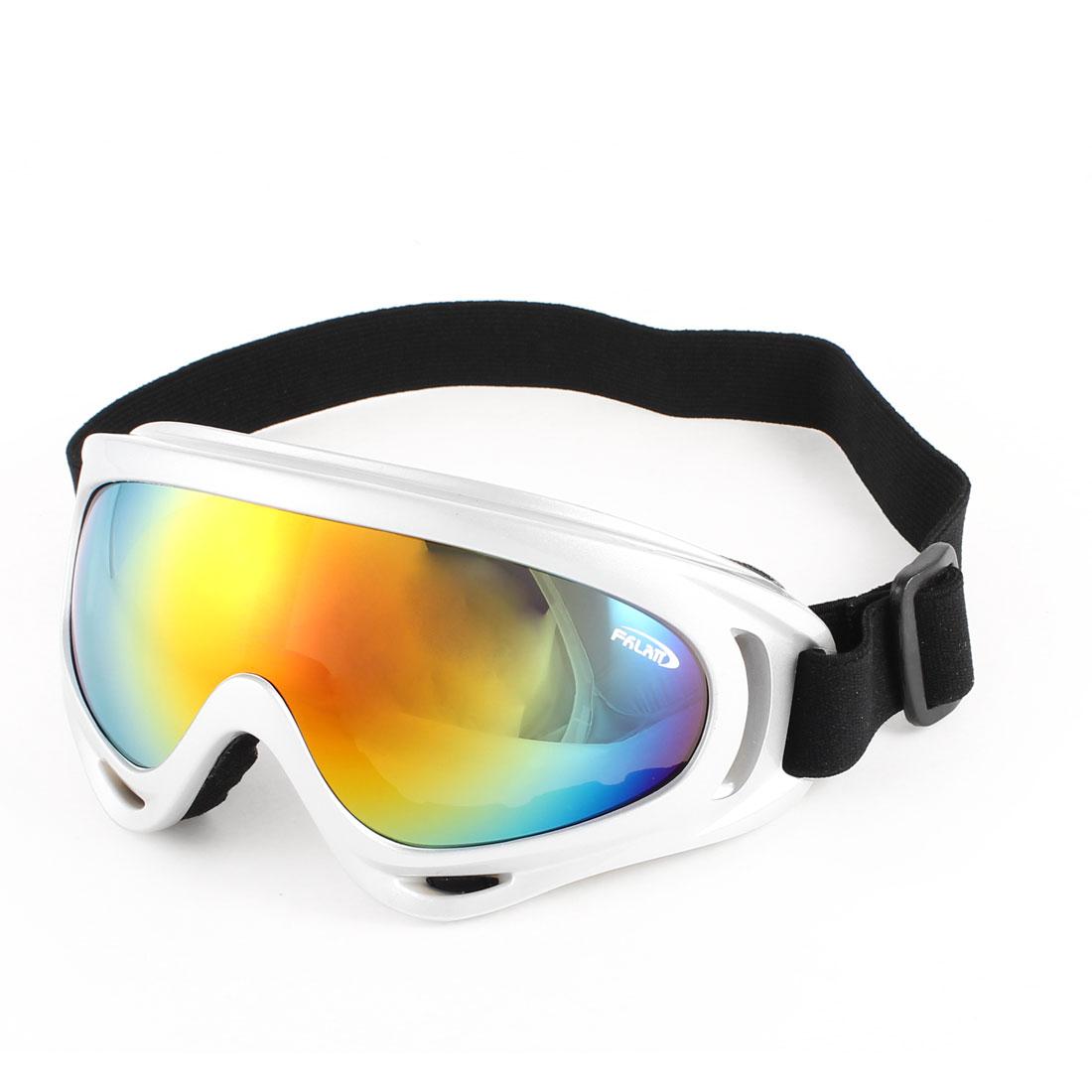 Men Ladies Silver Tone Wide Full Rim Colorul Lens Ski Snowboard Goggles Sunglasses